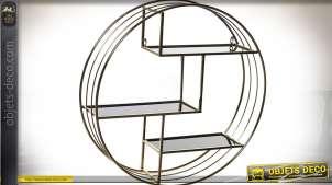 Etagère murale circulaire avec 3 plateaux asymétriques en métal doré Ø 75 cm