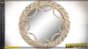 Grand miroir rond bois finition naturelle blanchi assemblage en relief Ø 96 cm
