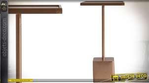 Table sellette carrée en verre et métal coloris noir et doré 57 cm