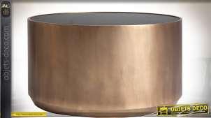 Table basse cylindrique en métal doré avec plateau en verre noir Ø 79 cm