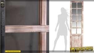 Grand miroir en forme d'ancienne porte-fenêtre patine blanc cassé 195 cm