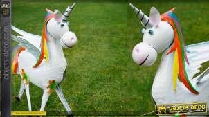 Sculpture d'une licorne en métal pour jardin, modèle avec touches de orange