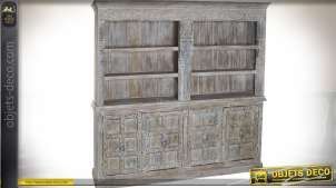 Grande bibliothèque rustique en manguier massif et métal 210 kg