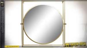 Miroir rond dans cadre carré en relief en métal patine dorée à l'ancienne 72 cm
