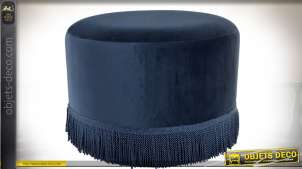 Repose-pieds en velours bleu nuit à franges tressées Ø 51 cm
