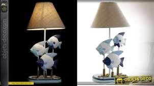 Lampe de salon bois et métal motifs poissons style bord de mer 51 cm