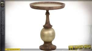 Table à thé ronde en bois et métal finition zinc doré 90 cm
