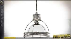 Suspension industrielle design en verre et métal Ø 40 cm