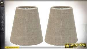Duo d'abat-jour coniques en lin écru Ø 11 cm