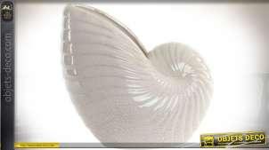 Vase céramique en forme de grand coquillage blanc effet craquelé 33 cm