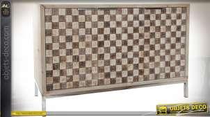 Buffet scandinave à 3 portes avec façades à damiers bois naturel et brun 120 cm