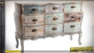 Commode de style rétro à 9 tiroirs patine multicolore défraîchie 122 cm