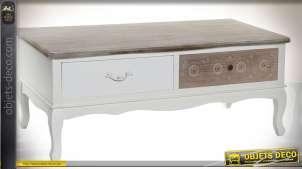Table basse de charme blanc et marron cérusé avec deux tiroirs 109 cm