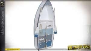 Meuble étagère en forme de barque de pêcheur style bord de mer 134 cm
