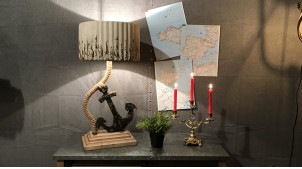 Lampe de table en bois métal et cordage sur le thème de la marine 76 cm