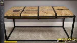 Table basse design en bois de tamarin massif et métal noir mat 110 cm