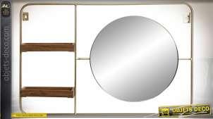 Miroir mural en métal style rétro et industriel avec 2 petites étagères en bois 60 x 40 cm
