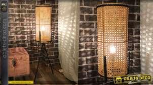 Grande lampe sur pied cylindrique en rotin naturel avec trépied en métal noir 99 cm
