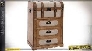 Petite commode en bois et toile style haute malle de voyage 71 cm