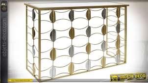 Console design en métal et miroir avec motifs feuillage doré et argenté 120 cm