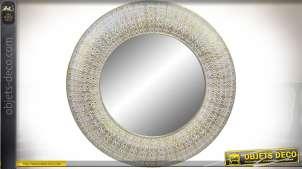 Miroir circulaire en métal doré façonné de style oriental Ø 100 cm
