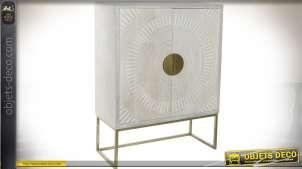 Armoire design teintes ivoire et or avec portes sculptées 119 cm