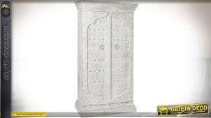 Grande armoire à 2 portes en manguier style indien patine blanche vieillie 190 cm