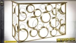 Console design métal doré et miroir motifs géométriques cercles 120 cm