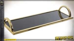 Plateau design rectangulaire 40 cm en métal doré et verre noir