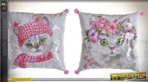 Série de deux coussins à paillettes motifs chatons style girly 40 x 40 cm