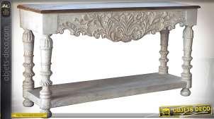 Grande console baroque à 2 plateaux patine blanche vieillie 160 cm