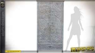 Armoire à 2 portes sculptées motif éléphant indien patine blanc et gris 185 cm