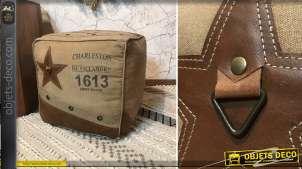 Cube pouf coussin de sol coton et cuir rétro coloris beige et brun 42 cm