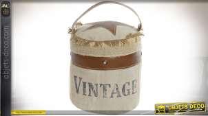 Cale-porte en coton et cuir de style vintage US 22 cm