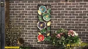Grande décoration murale en métal : encadrement de fleurs multicolores 102 cm
