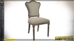 Chaise inspiration Louis XVI bois sculpté tissu coloris lin écru 97 cm