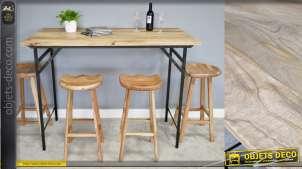 Table haute de style industriel, en bois de manguier et structure en metal noir, modèle pliable