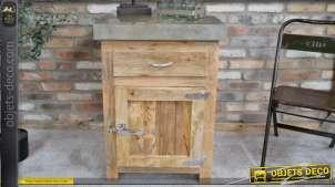 Meuble bas en bois de manguier, une porte avec poignée d'ancien frigo, style vintage