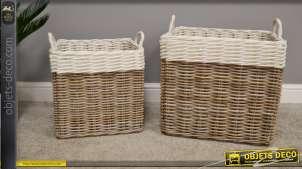Série de deux corbeilles en rotin, formes rectangulaires, couleur naturel et blanc