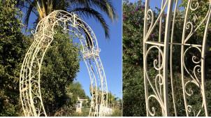 Arche en fer forgé 2,35 mètres de haut, finition crème effet vieilli, modèle Alma