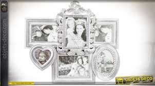Pêle-mêle en bois patine gris clair et blanc style baroque et romantique 52,5 cm