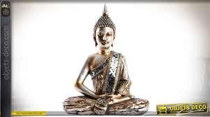 Statuette décorative de bouddha coloris doré et argenté 37 cm