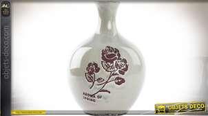 Vase de style romantique en céramique grège clair avec motifs roses 32,5 cm