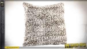 Coussin en fausse fourrure polyester en 45 x 45 cm