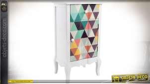 Table de chevet Art Déco avec 1 porte et 1 tiroir motifs en triangles