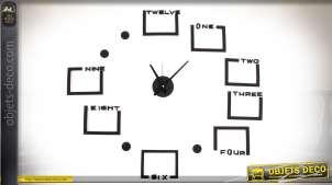 Horloge en stickers muraux avec 8 cadres photos coloris noir Ø 90 cm