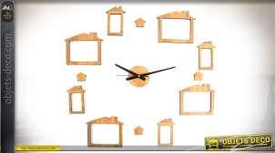 Horloge murale sticker imitation bois naturel avec 8 emplacements porte-photos