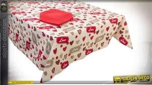Nappe carrée 150 x 150 avec 4 serviettes, en coton motifs Love et coeurs