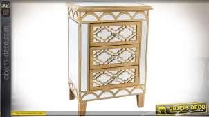 Chiffonnier à 3 tiroirs de style Art Déco inspiration vénitienne finition dorée