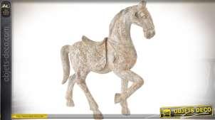 Statuette de cheval en résine imitatin bois effet vieilli et blanchi 45 cm